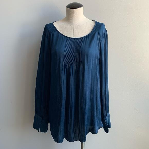 Halston Long Sleeve Blouse Steel Blue Size L